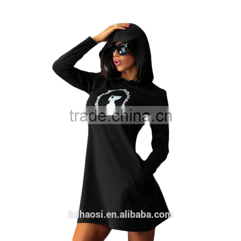 2016 Hotsale New fashion hooded mini dress, Womens Winter Dress with Long Sleeve Pockets design