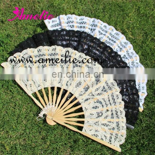 Wholesale 15 cm cheap lace hand fan for wedding decoration