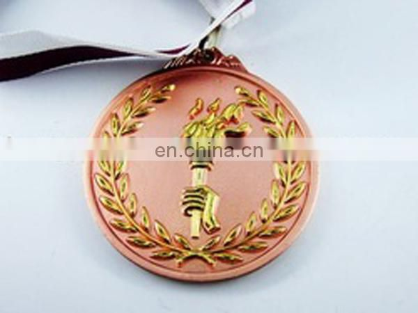 Reward round shaped embossed copper medal gold medal