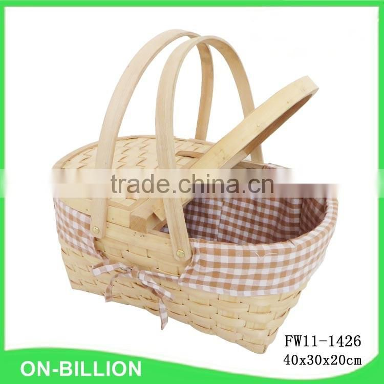 Cheap wood chip empty picnic basket