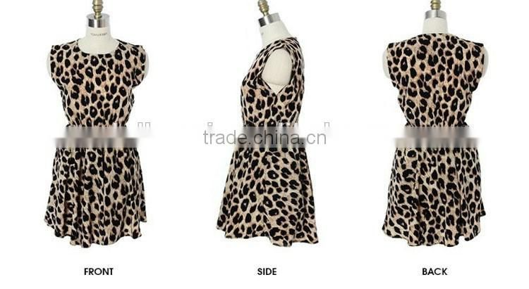 Summer fashion women casual dress sexy leopard dress