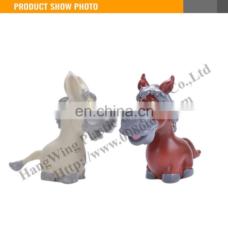 Vinyl & Soft Plastic Cartoon Animal 5Inch rubber horse toy With BB Whistle