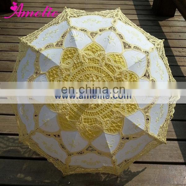 100% Cotton Yellow Lace Parasol