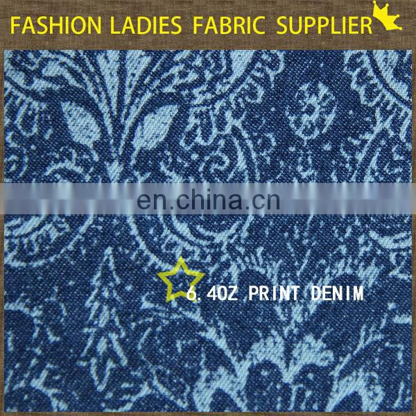 100% denim fabric print denim jeans
