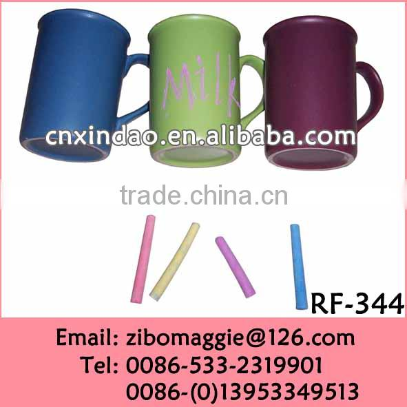 Colored Zibo Made Popular Oversized Porcelain Blackboard Modern Drinking Cup with Chalk