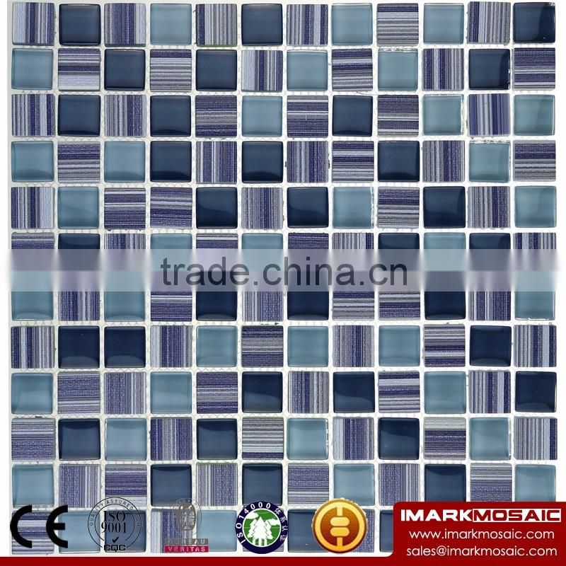 IMARK Wood Texture Blue Color Glass Mosaic Mix Crystal Glass Mosaic Tile