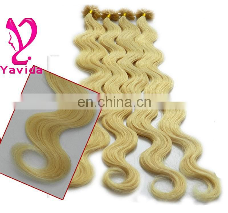 Keratin Hair Extension-U/I type-brazilian remy human hair -613# blond hair