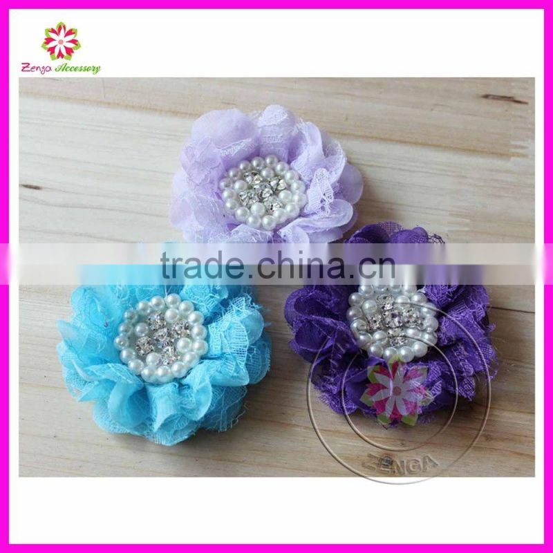 Beaded lace chiffon fabric flowers for wedding dresses,pearl center chiffon lace flower, pearls rhinestone chiffon lace flower