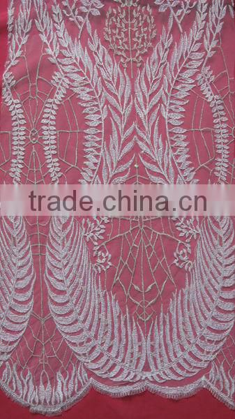 Sliver Embroidery French Lace Fabric