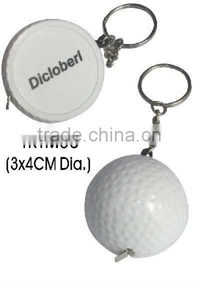 Promotional mini golf shape tape measure keychain