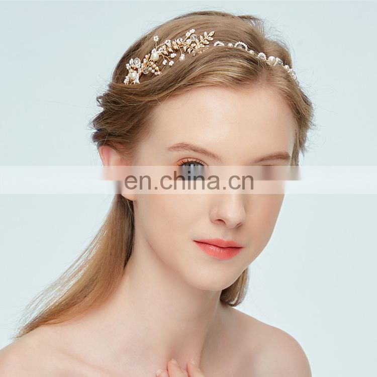 Beaded Leaf and Tiny Beads Party Flower girl's headband Wedding Hair vine Pearl Headband Boho Wedding