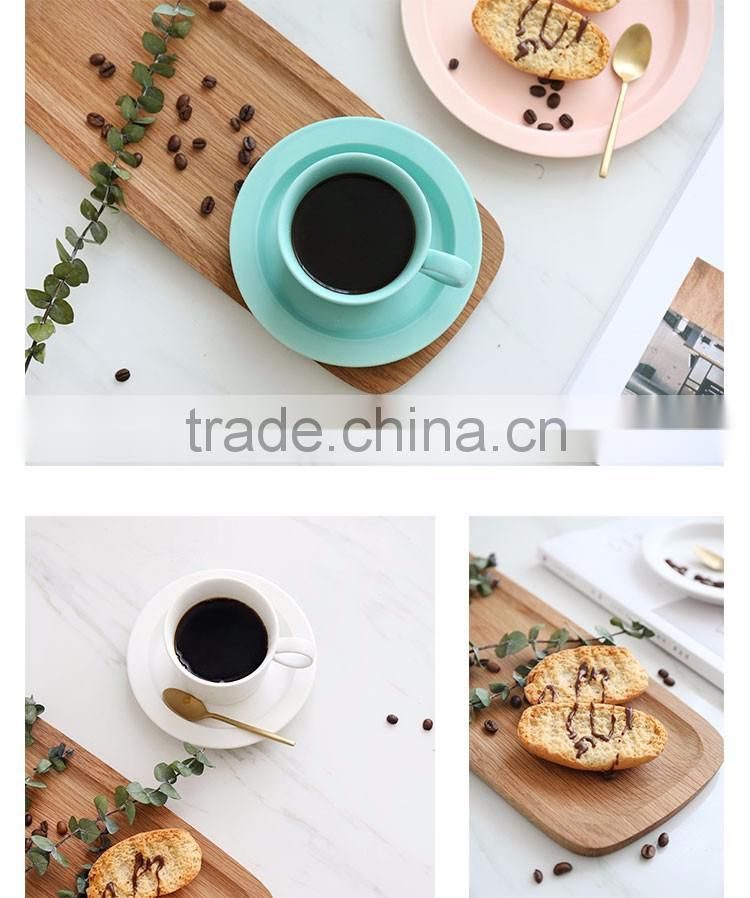 Chaozhou wholesale factory ceramic color glaze coffee cup and saucer set for gift promotion