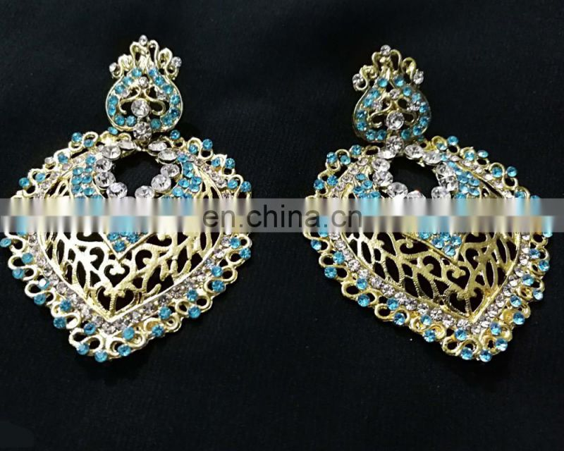 Drop Dangling Gold Plated Party Wear Earrings Set In Turquoise Color