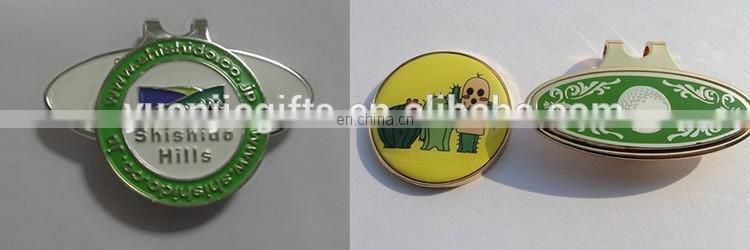 Funny image silver golf ball marker with hat clip bulk wholesale