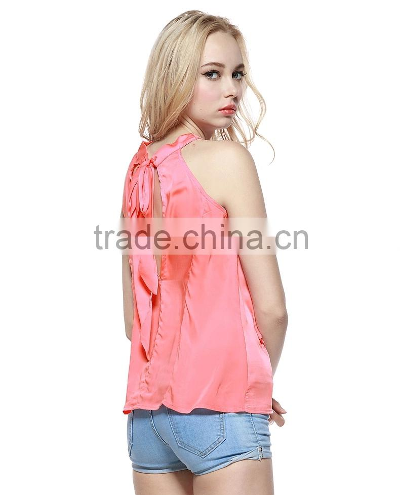 Loose Ruffles Decorated Lace-up Back Round Neck Chiffon Tank Top