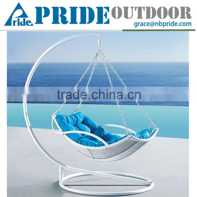 Lazy Hammock Rattan Hanging Swing Chair In Wrought Iron Stand