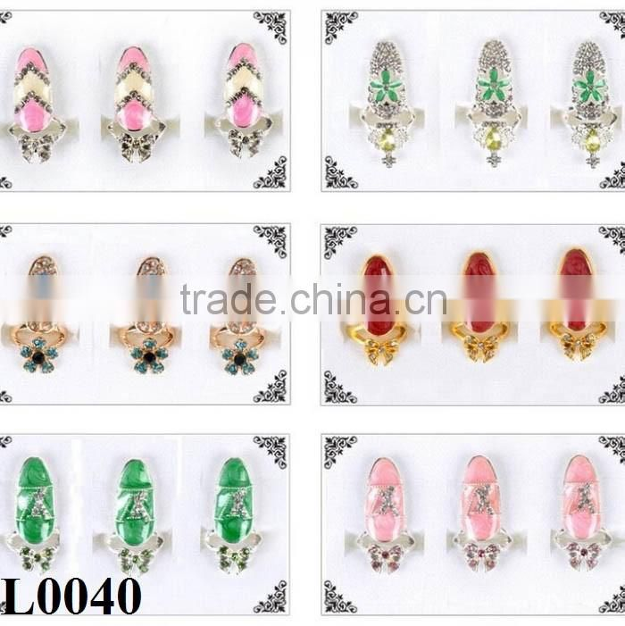New Arrival Wholesale Fashion Crown Crystal Finger Nail Art Ring Jewelry Fake Nail Art L0039