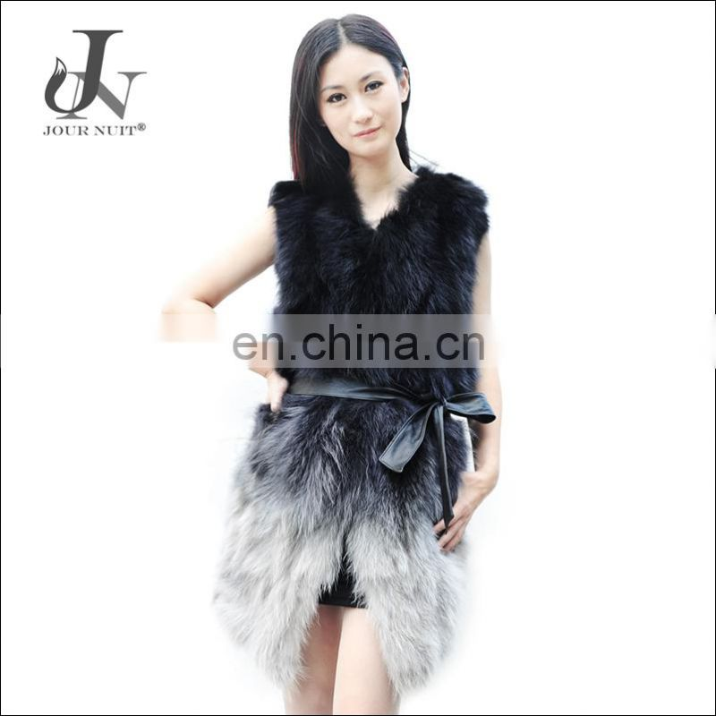 Fashion Winter Warm Women Gilet Real Raccoon Fur Outwear Vest