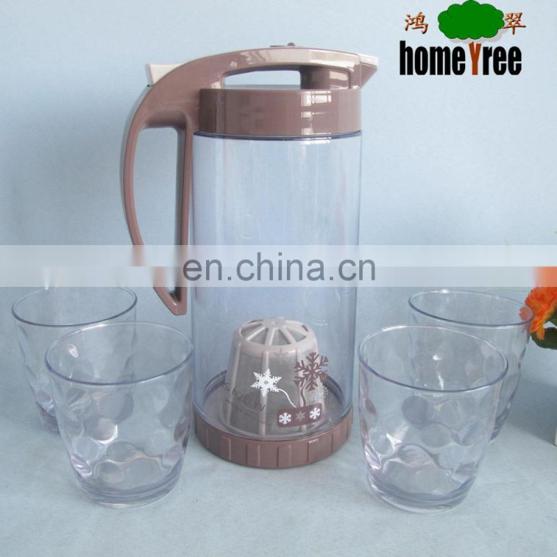 1600ml Snowflake Pattern Plastic Water Jug With Strainer And Side Handle Pouring Jug For 4 Person