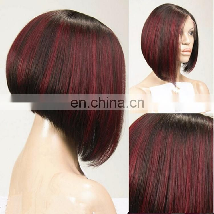 Natural Black Colro Highlight 99j Color Short Woman Peruvian Hair Wig Silky Straight Bug Red Human Hair Lace Front Wig Bob Cut