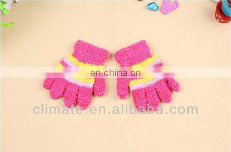 Colorful microfiber knitted kids and children gloves