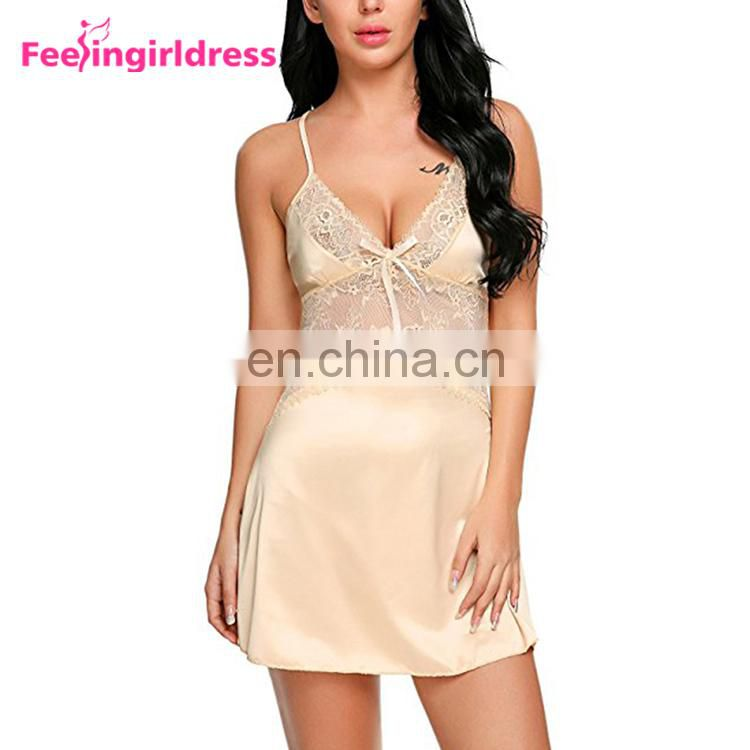 Hot Attractive Nude Sheer Lace Women Babydoll Lingerie Set