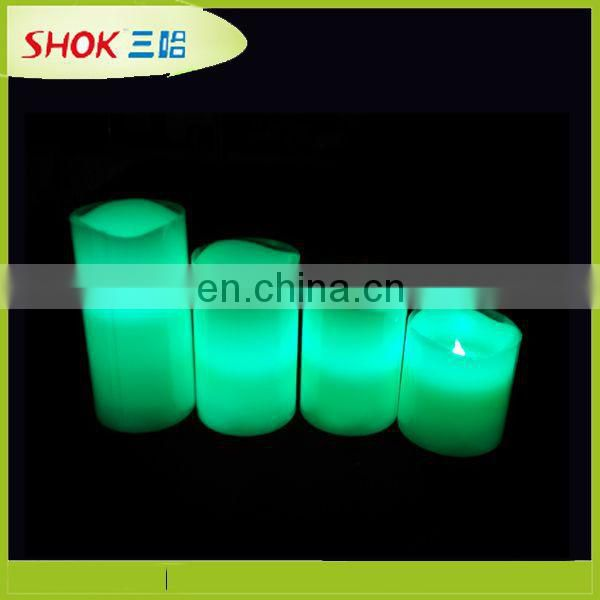 Hotel decoration Loft Living Flameless LED Pillar wave Candles (Set of 4)