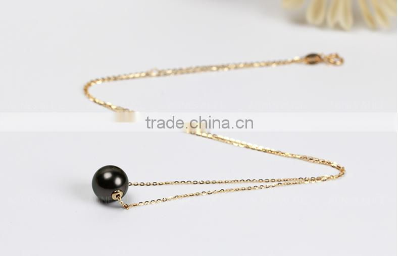 11-12mm top quality 18K gold black pearl pendant necklace, tahiti pearl pendant, black pearl pendant yellow gold