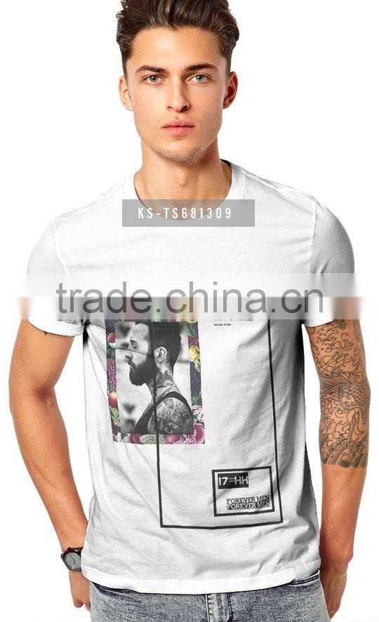Wholesale 100% Polyester Custom Short Sleeve Tee Shirt Printed Men's T Shirts
