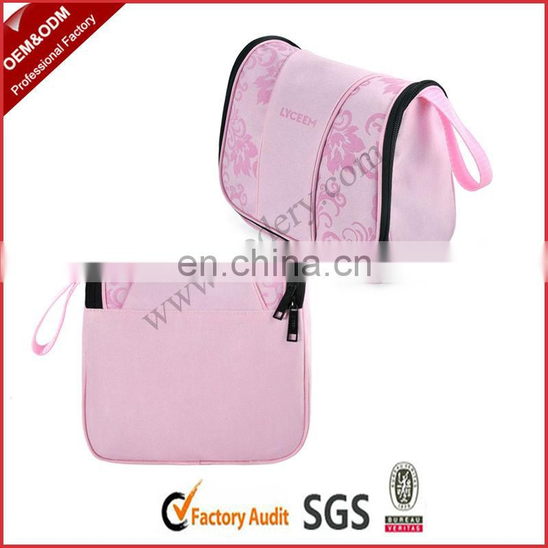 Hanging folding cosmetic bag with double zipper tags