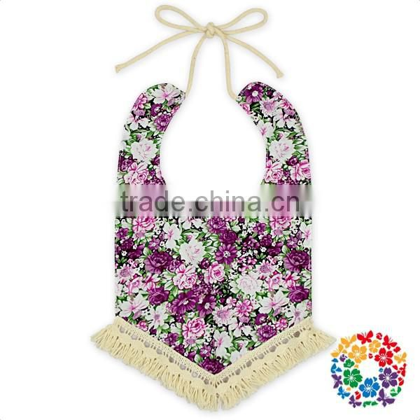 adjustable tassel floral cotton fabric christening baby bandana bibs
