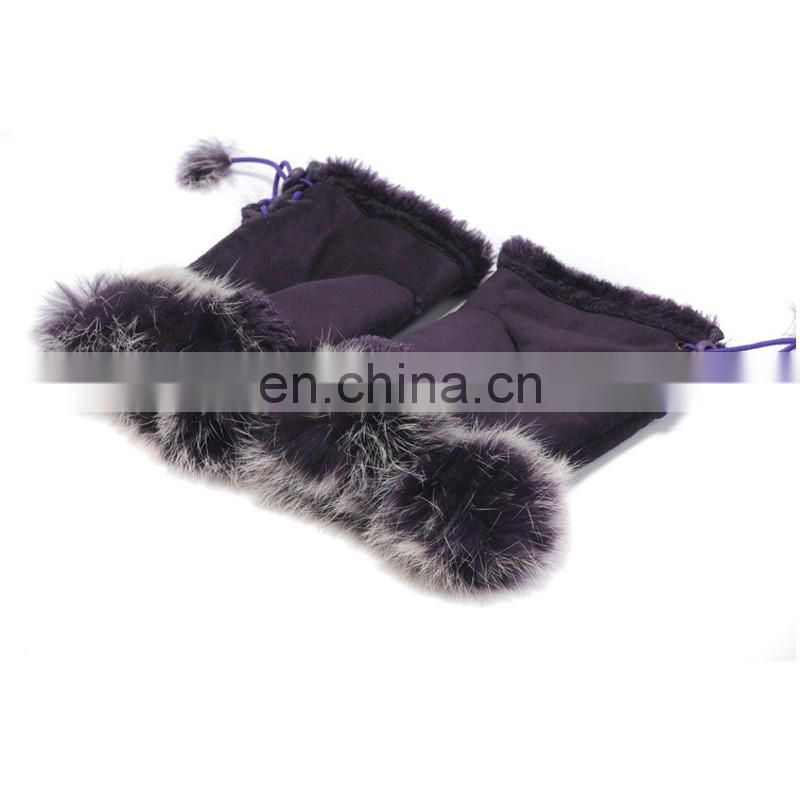 Rabbit fur fingerless gloves high quality real fur gloves for adults