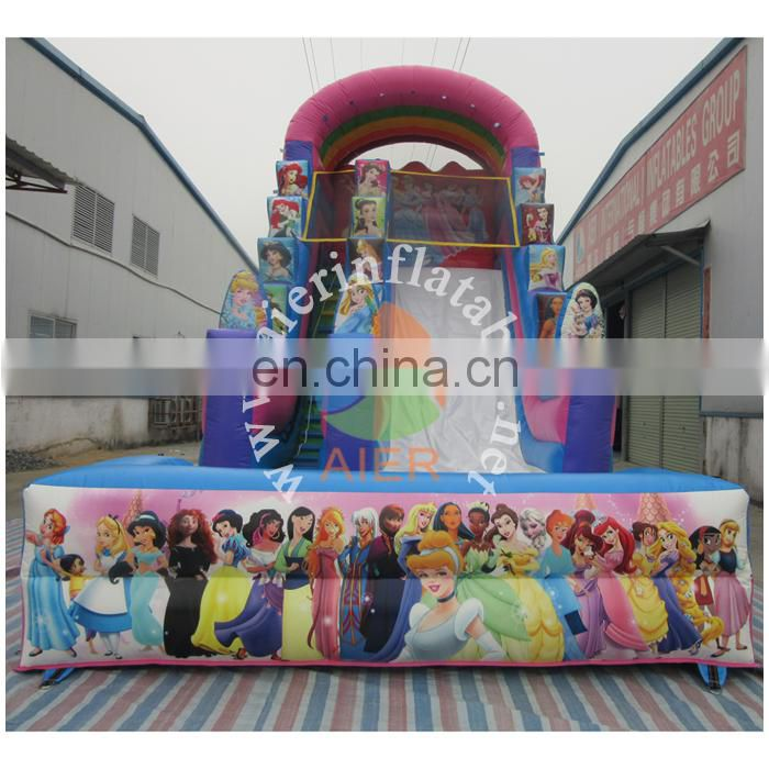 excellent quality long inflatable water slide pool / princess outdoor water slide inflatable for sale