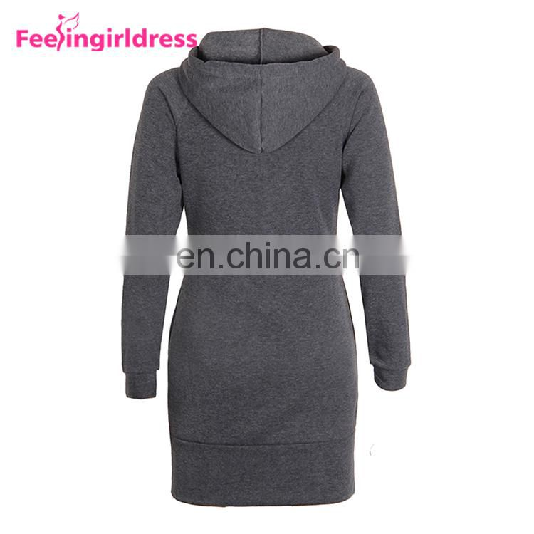 Elegant Fashion 5 Color Long Sleeve Ladies Hoodie Dress Mini Length Women Winter Sweater Dress