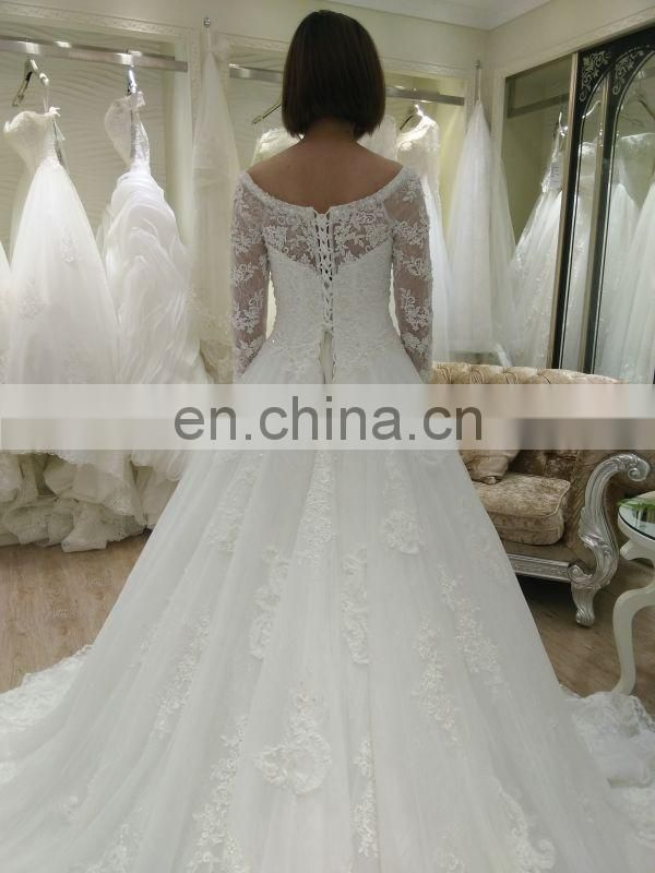 long sleeve muslim wedding dresses pictures made in china for black women