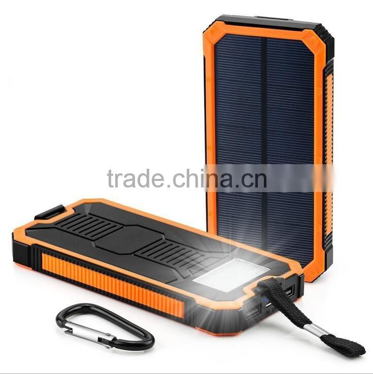 Two usb phone charger 12000mah solar bank