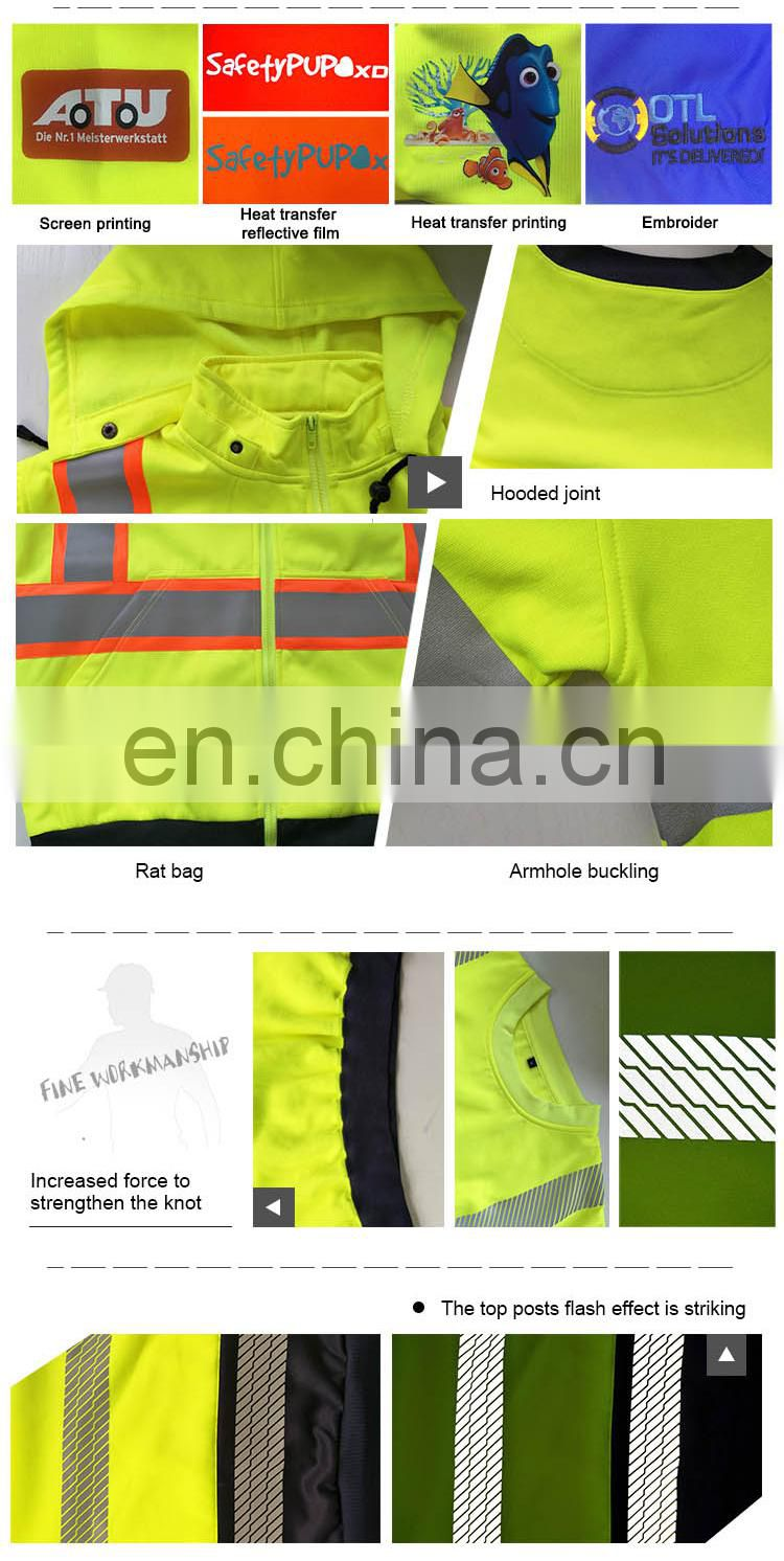 high visibility reflective safety warning sweatshirt