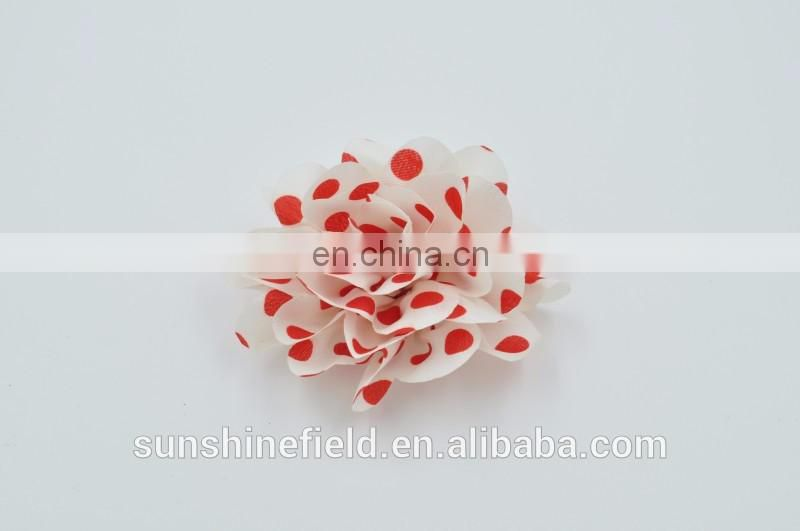 "3"" Polka Dots Silk Flowers Head Fabric Hair Flower Heads Decoration For Headbands"