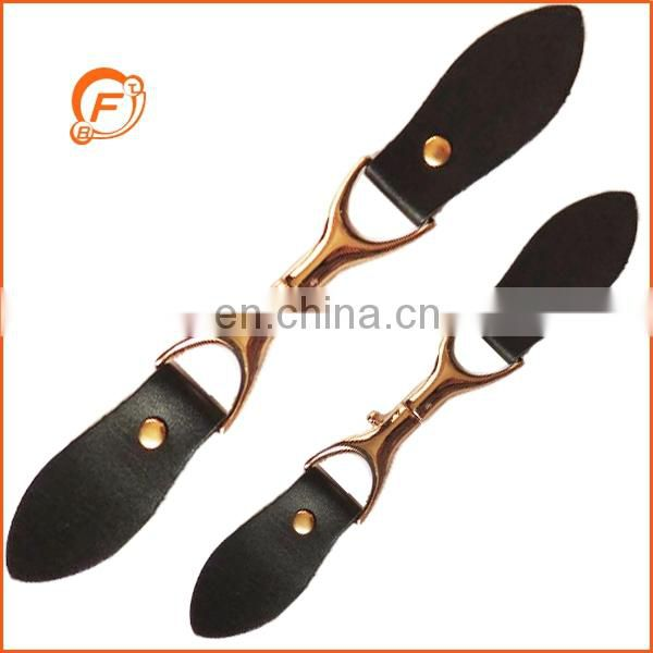 black color leather finishing toggle for coat