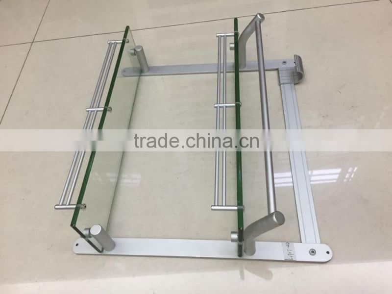 aluminium corner shelf glass shelf glass tray L1707-2D 2 lier bathroom shelf bathroom rack