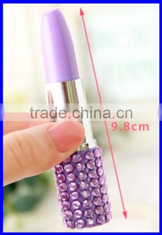 Promotional gift lip rouge stationery point pen with diamond