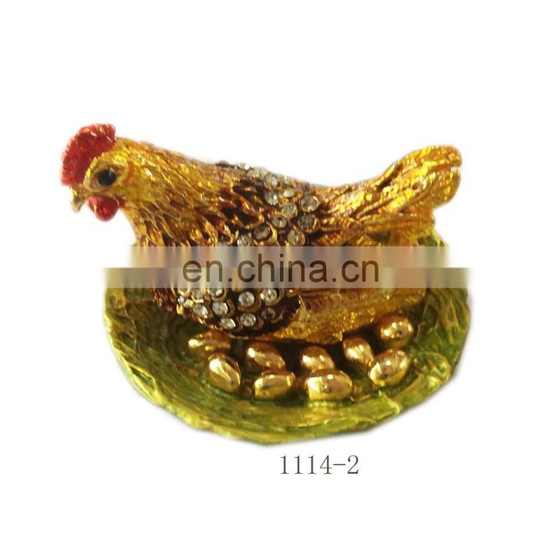 metal Hen shape 2017 Chinese new year gifts jewelry box