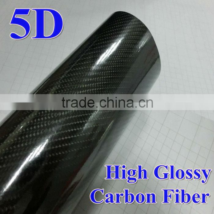 High reflective glossy black 4D texture 5D car body protective vinyl wrap carbon fiber fabric price