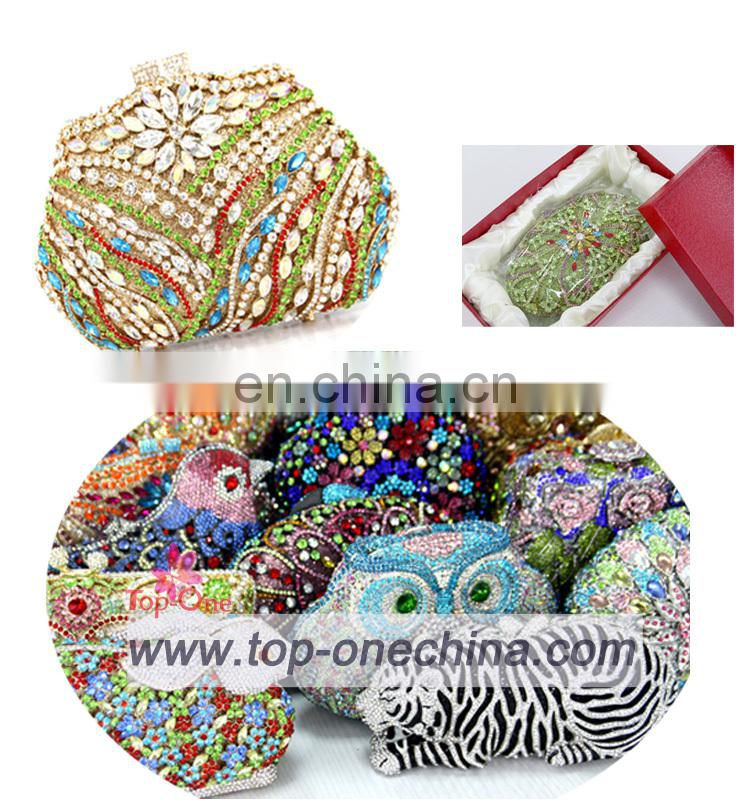 2015 colorful luxury clutch purse crystal stone evening bag