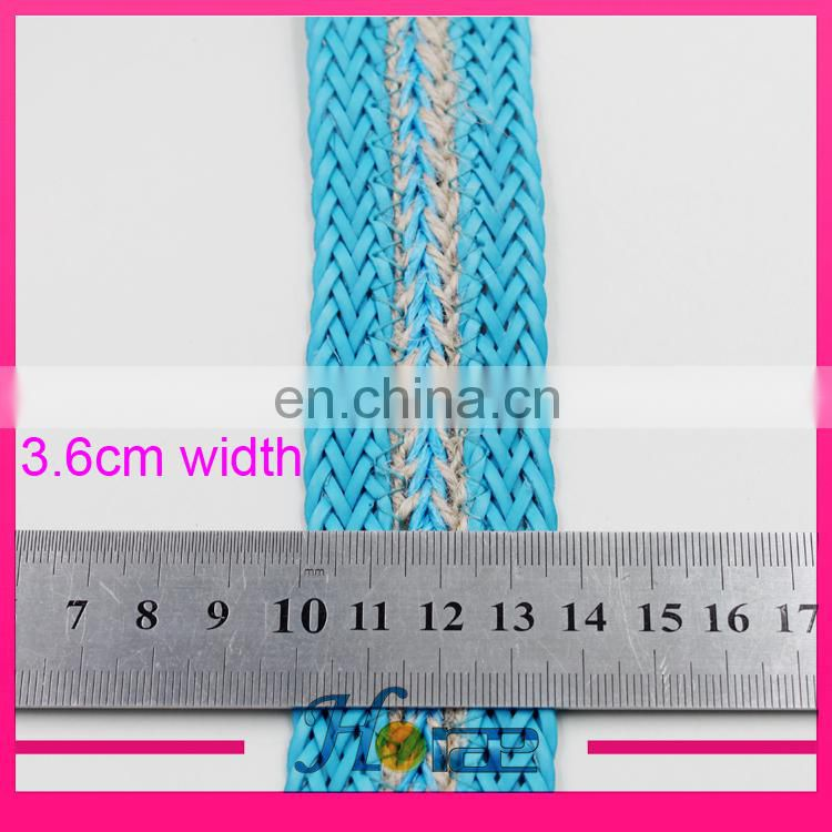 Fashion braided jute cord jute webbing rope for shoe bag and garment
