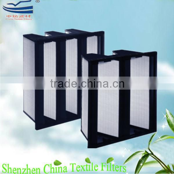 V-shape compact air HEPA filters plastic and metal frame