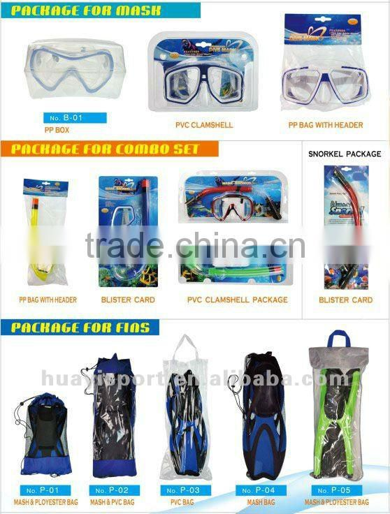 Silicone and PVC diving mask snorkel fins scuba triple set