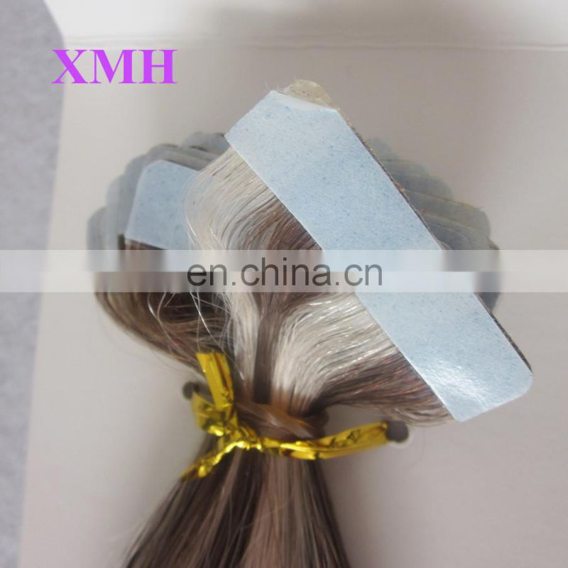 High quality tape hair skin weft extensions brown hair with blonde highlights