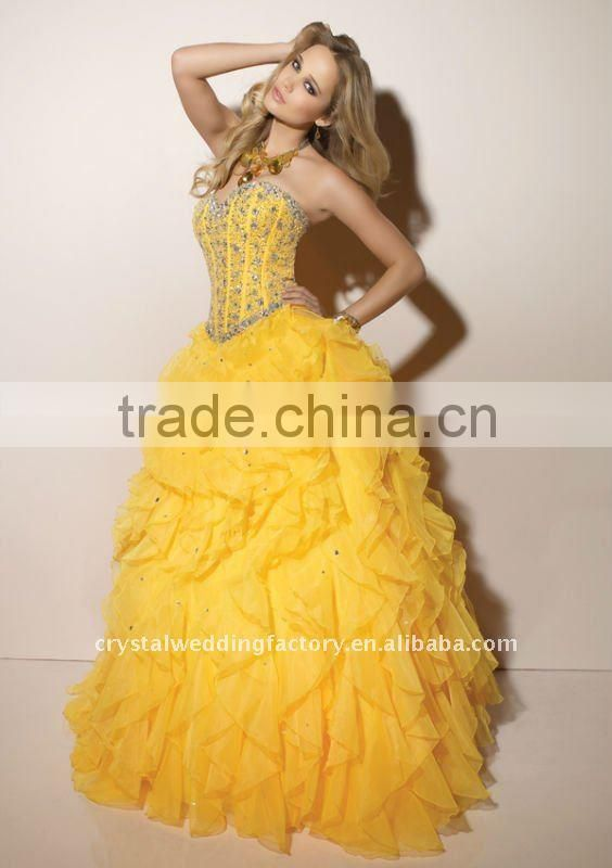 2012 beaded corset ruffled organza custom-made formal ball gowns with jacket CWFab3555