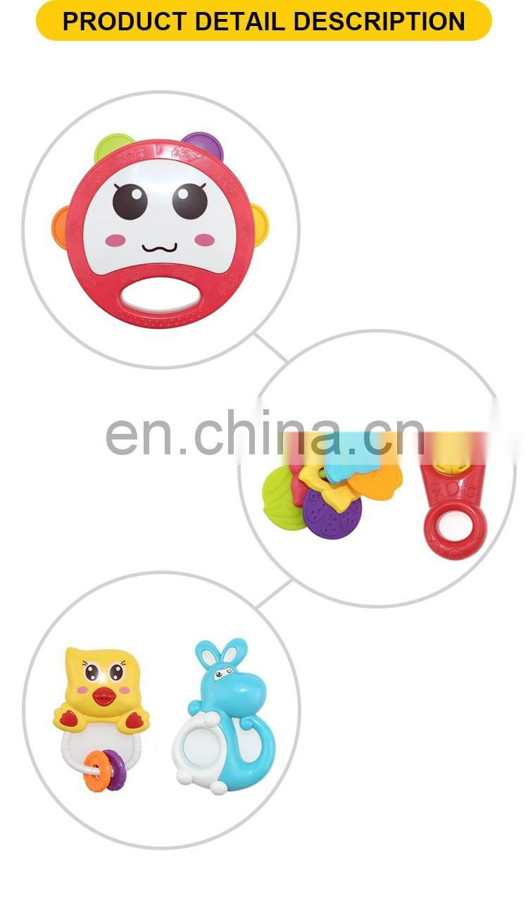 Hot selling plastic baby tambourine musical toy rattle(5pcs)